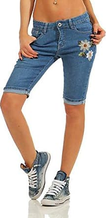 6010 2 Damen Jeans Bermuda Denim Shorts Kurze Hose Stretch Destroyed Baggy