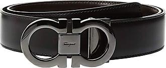 Salvatore Ferragamo Double Gancini Adjustable and Reversible Belt - 679535 (Black/Auburn) Mens Belts
