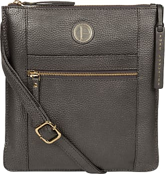 Pure Luxuries London Pure Luxuries London Topaz Womens 25cm Biodegradable Leather Cross Body Bag with Zip Over Top, 100% Cotton Lining and Matching Leather Handles in Meta