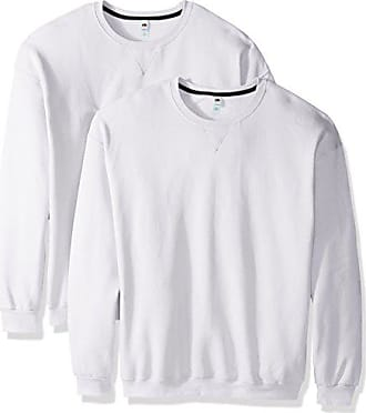 Fruit Of The Loom Mens Crew Sweatshirt (2 Pack), White, XX-Large
