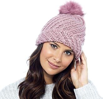 Foxbury Diagonal Knit Hat with Faux Fur Bobble Pink