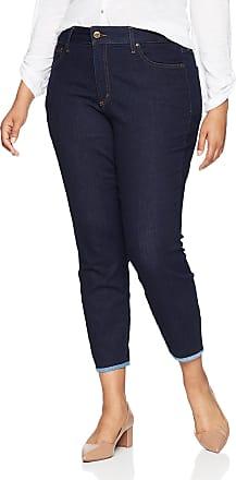 NYDJ Womens Plus Size Alina Ankle with Contrast Hem - Blue - 22