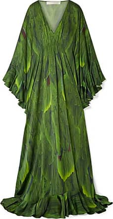 0dbeed92ddb Naeem Khan Draped Printed Silk-charmeuse Gown - Green