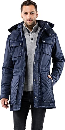 Vincenzo Boretti Mens Winter Coat Fitted Slim-fit Parka Tone in Tone Quilted Stand-up Collar Detachable Hood Long-Sleeve Warm Smart Elegant Men Designer Padded Jacket