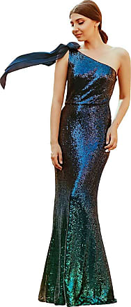 Ever-pretty Womens One Shoulder Long Mermaid Sequins Evening Party Dresses Dark Green 12UK