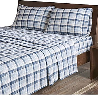 Woolrich Flannel King Bed Sheets, Casual Lodge/Cabin Bed Sheet, Blue Plaid Bed Sheet Set 4-Piece Include Flat Sheet, Fitted Sheet & 2 Pillowcases