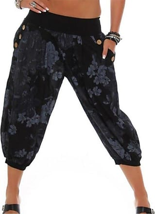 Hellomiko Women Cropped Pants Harem Trousers Uni-Colors Balloon Trousers Turkish Trousers Floral Printed Puff Baggy 3/4 Trousers Black