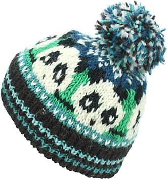 Loud Elephant Wool Knit Bobble Beanie Hat - Panda - Green Teal