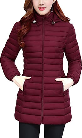 ZhuiKun Womens Hooded Padded Puffer Parka Ladies Winter Quilted Bubble Jacket Coat Top Wine Red XXL