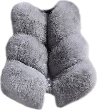 ZongSen Women Ladies Faux Fur Sleeveless Twill Shaggy Cardigan Vest Jacket Coat Outwear Gray L