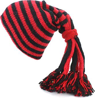 Loud Elephant Wool Knit Fountain Tassels Beanie Hat with Fleece Lining - Red & Black