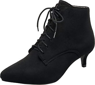 RAZAMAZA Womens Lace up Pointed Toe Kitten Heels Ankle Dress Boots (39 EU,Black)