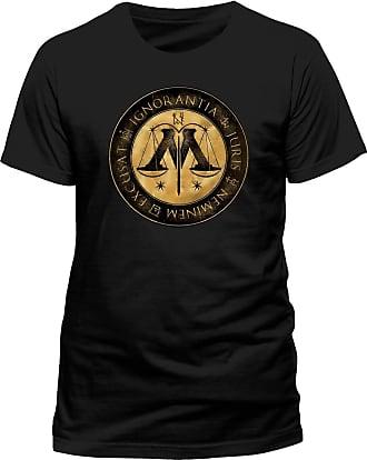 Harry Potter Mens Ministry Crest T-Shirts, Black, X-Large