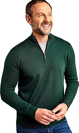 WoolOvers Mens 100% Merino Half Zip Neck Knitted Jumper Pine, M