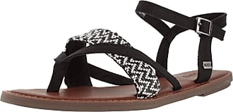 0a709c74b46 Toms Lexie Sandal - Black White Woven Womens Sandals 6 UK