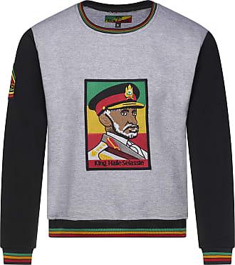 Raw Blue King Haile Selassie Rastafarian Crew Neck Sweat Shirt Fleece Jumper (M, Grey)