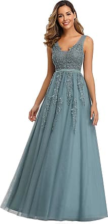 Ever-pretty Womens Elegant V Neck Floor Length Tulle with Applique Long Wedding Guest Dresses Dust Blue 20 UK