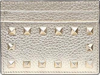 Valentino Garavani Valentino Garavani Portacarte Rockstud Donna Platino 100% Pelle Di Vitello - Bos Taurus OneSize