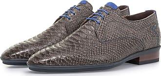 Floris Van Bommel Dunkelgrauer Nubukleder-Schnürschuh mit Schlangenprint, Business Schuhe, Handgefertigt