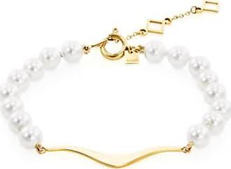 Misaki Bracelet chaine Night doré avec perles blanches