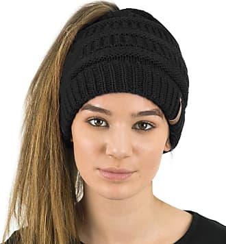 TOSKATOK Ladies Womens Plain Ponytail Messy Bun Ribbed Winter Beanie Hat Cap Hair Hairband Black