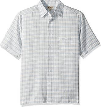 Haggar Mens Short Sleeve Microfiber Woven Shirt, White/Quarry, L