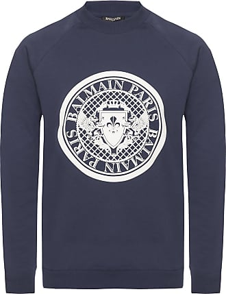 Balmain Patterned Sweatshirt Womens Navy Blue
