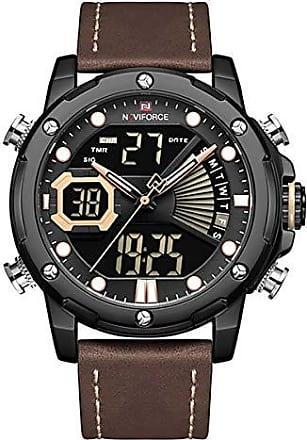NAVIFORCE Relógio Masculino Naviforce NF9172 BYBN Pulseira em Couro - Marrom e Preto