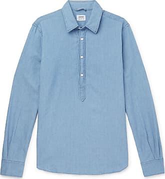 Aspesi Chambray Half-placket Shirt - Blue