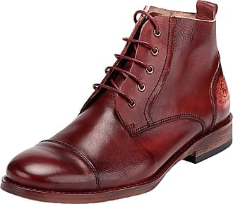ICEGREY Mens Leather Ankle Boots Cap Toe Oxford Shoes Wine Red 44