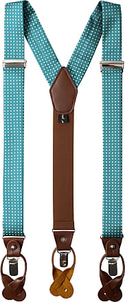 Jacob Alexander Mens Polka Dot Y-Back Suspenders Braces Convertible Leather Ends and Clips - Teal