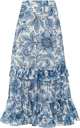 Erdem Danna Modotti Wallpaper Cotton-blend Skirt - Womens - Blue White