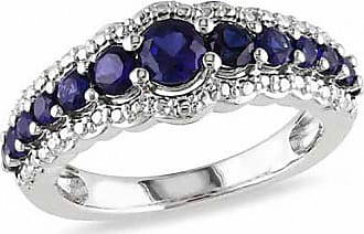 Zales Graduated Lab-Created Blue Sapphire Ring in Sterling Silver