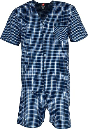 Hanes Mens Short Sleeve Short Leg Pyjama Set, Small, Navy Plaid