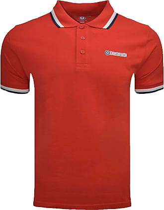 Lambretta T-Shirt Polo Triple Tipped Collar Mens Small - 4X Large (UK 3X Large, Red/White/Grey/Navy)