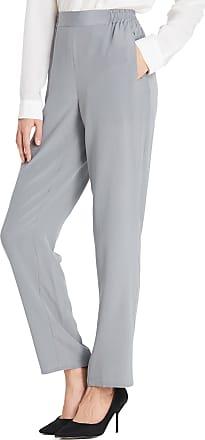 LilySilk 18MM Ladies Silk Trousers Long Wide Leg Pants Bottoms for Women Classy Grey Size XL