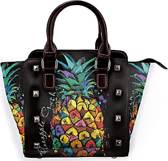 Browncin Watercolor Pineapple Art Tropical Exotic Fruit Jungle On Black Backgound Detachable Fashion Trend Ladies Handbag Shoulder Bag Messenger Bags