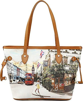 Y Not YNOT Womens shoulder bag in synthetic leather with London print and inside pockets