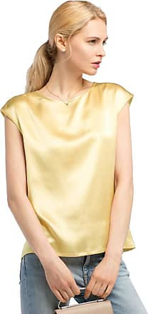 LilySilk Basic Cap Sleeves 22MM Silk T Shirt Relaxed Fit Round Neck Shirt for Ladies (20-22/XXL, Gold)