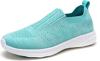 Dream Pairs Womens Slip On Trainers Mesh Lightweight Casual Walking Nursing Shoes 171114-W Baby Blue Size 8.5 US / 6.5 UK