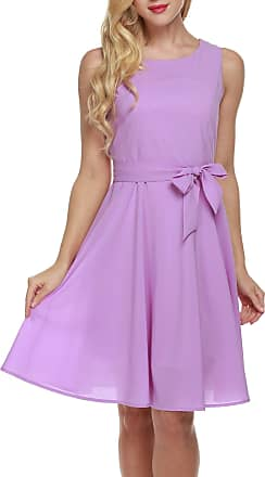 Zeagoo Womens Summer Chiffon Sleeveless A-Line Pleated Party Cocktail Dress W/ Belt