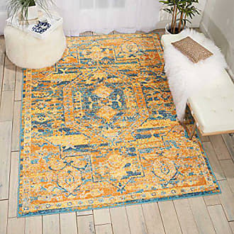 Nourison Passion Modern Traditional Colorful Teal/Sun Orange Area Rug, 53 x 73