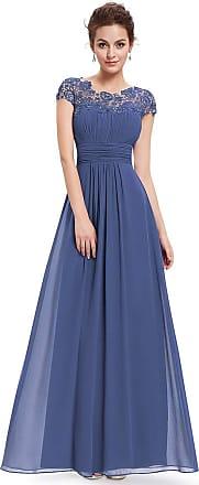 Ever-pretty Womens Cap Sleeve Floor Length A Line Empire Waist Elegant Chiffon Evening Dresses Denim Blue 12UK