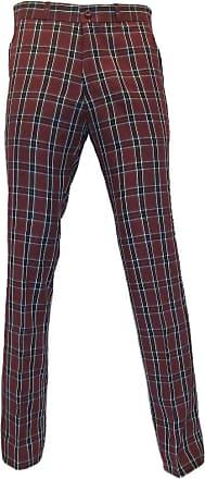 Relco Mens Burgundy Tartan Check Sta-Press Trousers (36)