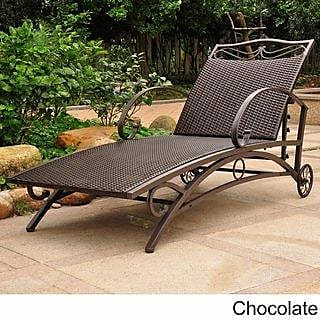 International Caravan Inc Valencia Resin Wicker Multi-Position Chaise (Antique Black)