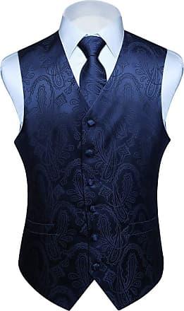 Hisdern Hisdern Mens Classic Paisley Floral Jacquard Waistcoat&Necktie and Pocket Square Vest Suit Set, 3XL(Chest 54inch), Navy Blue