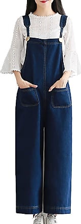 Vdual Women Loose Vintage Baggy Dungarees Belt Jeans Jumpsuits Overalls Trousers Bib Pants Wide Leg Long Ankle Pants Plus Size Navy