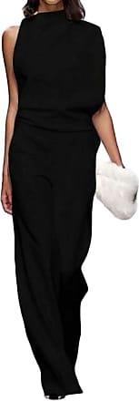 H&E Womens Casual Solid Color Summer Sleeveless Wide Leg Bodysuit Jumpsuit Black M
