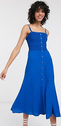 Whistles gracia smocked cami midi dress in blue