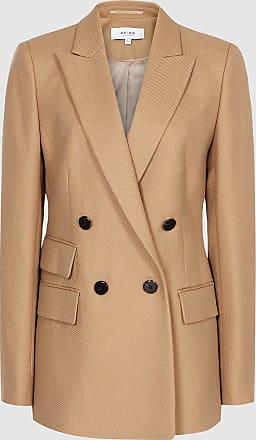 Reiss Ledbury Jacket - Wool Blend Double Breasted Jacket in Camel, Womens, Size 12